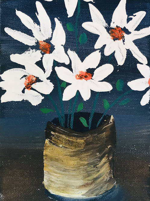 """Thick White Flowers 5"""" X 7"""""""