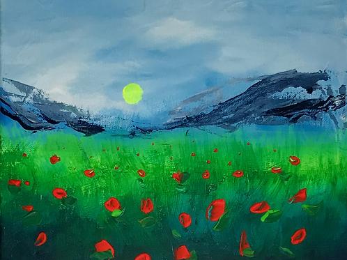 """Stormy Flower Fields 8""""x10"""""""