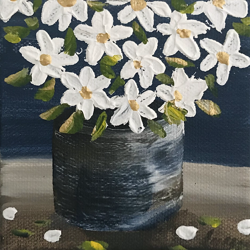 """Bouquet of Thick Flowers 4"""" X 4""""SOLD"""