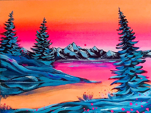 """Warm Sunset on Cold Trees 16""""x20"""""""