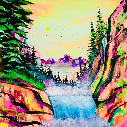 "A Vibrant Waterfall 17""x17"""