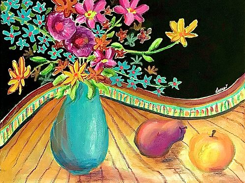 """Flowers and fruit 8""""x12"""""""