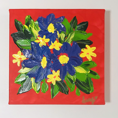 """Red with chunky flowers 8""""x8"""""""