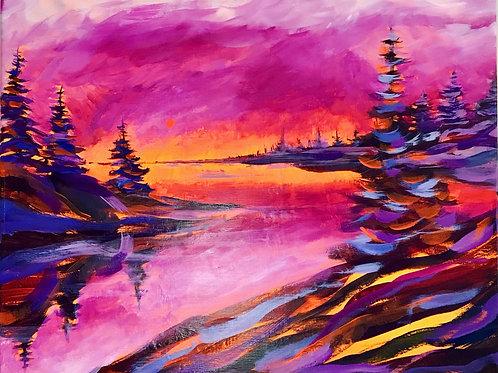 NeonScape Purple Sunset