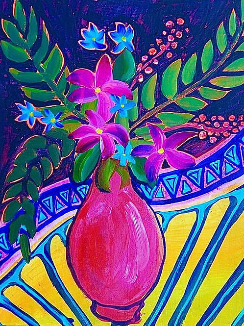 """Aztec Flowers 11"""" X 14"""""""