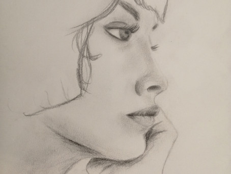 Hier, portraits au crayon en atelier de dessin