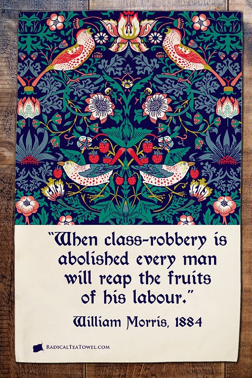 Strawberry Thief Tea Towel with Quotation