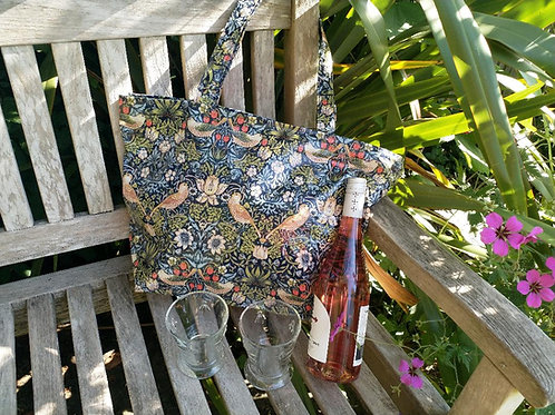 Blue Strawberry Thief long handled zipped PVC tote bag