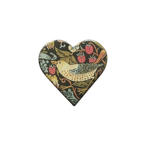 Strawberry Thief Ceramic Brooch, heart shaped (strawberries)