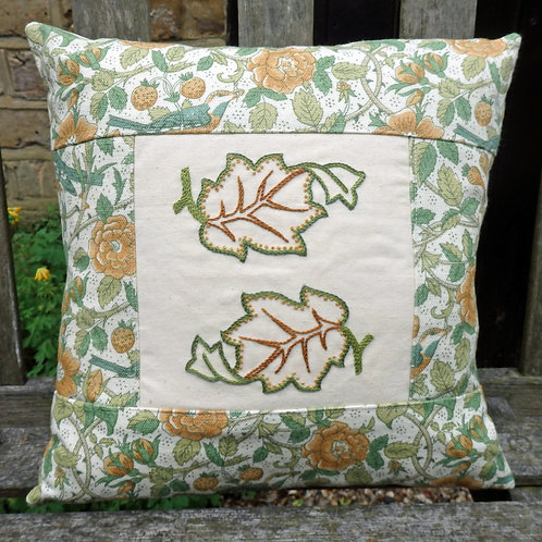 Handmade in Hammersmith embroidered cushion: Leaves