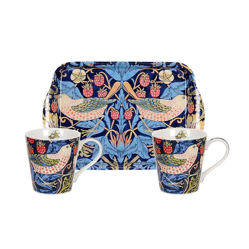 Strawberry Thief Blue Mug and Tray Set by Pimpernel