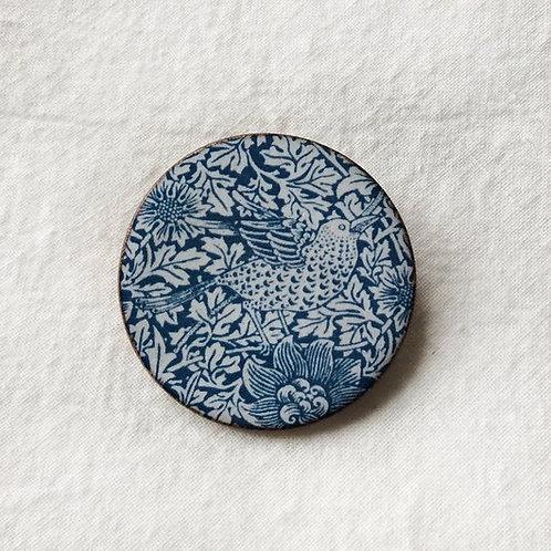 Morris Bird and Anemone Ceramic Brooch