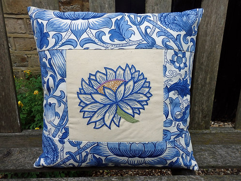 Handmade in Hammersmith embroidered cushion: Blue Lotus