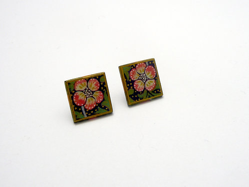 Strawberry Thief square stud earrings