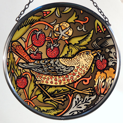 Strawberry Thief Stained Glass Roundel