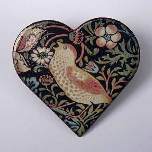 Strawberry Thief Ceramic Brooch, heart shaped