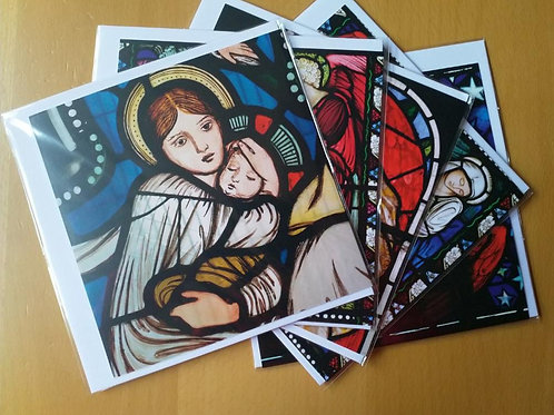 Christmas card pack: Stained Glass windows
