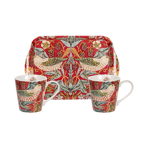 Strawberry Thief Red Mug and Tray Set by Pimpernel