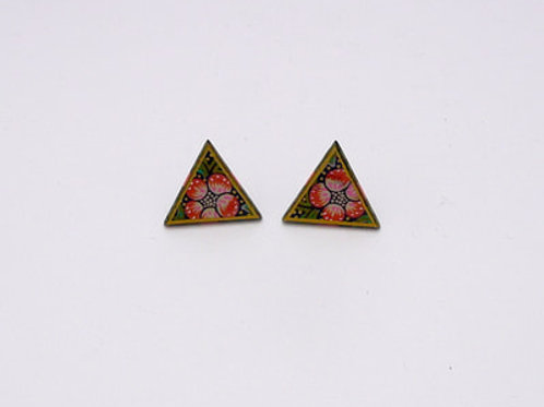 Strawberry Thief triangle stud earrings