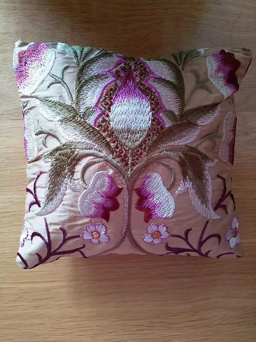 Handmade lavender scented pillow in 'Mary Isobel' silk fabric