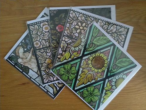 Stained Glass greeting card pack: Floral theme