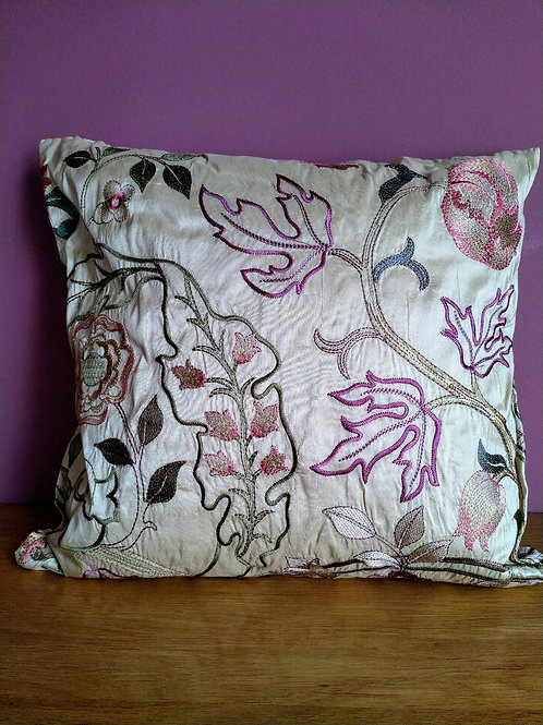 Handmade silk cushion in 'Mary Isobel' fabric