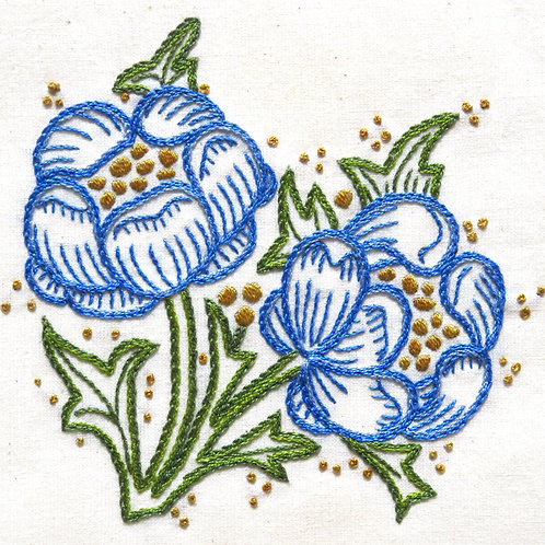 Morris in Bloom Embroidery Kit: Bachelor's Button