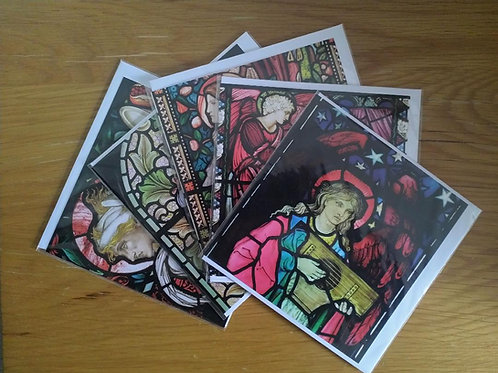 Stained Glass greeting card pack: Saints theme