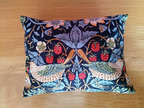 Handmade lavender scented pillow in 'Strawberry Thief' fabric
