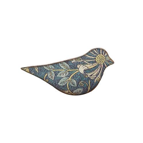 Bird Ceramic Brooch, Honeysuckle pattern