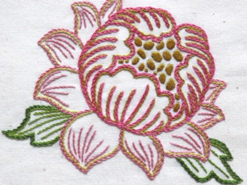 Morris in Bloom Embroidery Kit: Pink Peony