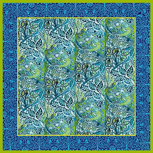 Dove & Rose silk scarf, Blue/Green