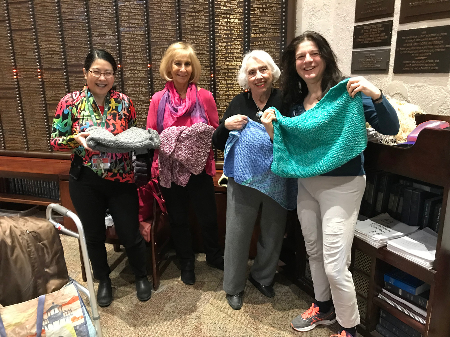 Knitting scarves for local organizations