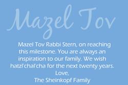 Rabbi Stern's 20th Anniversary