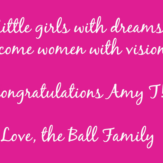 Congrats from the Ball Family!