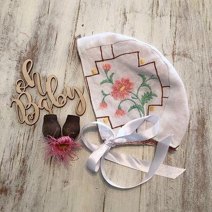 Vintage embroidered linen bonnet