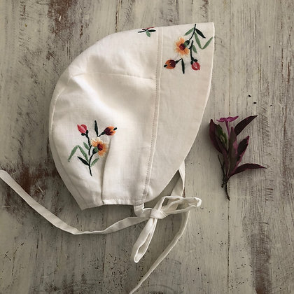 Floral embroidered sun bonnet