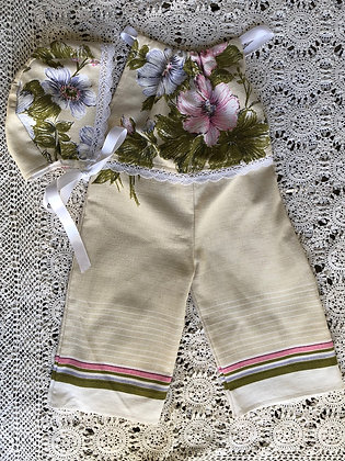 Flowers and stripes linen overalls and bonnet set