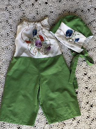 Pansy embroidered overalls and bonnet set