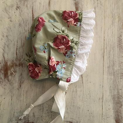 Floral frilled bonnet