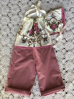 Embroidered halter overalls and bonnet set