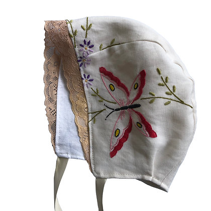 Embroidered Butterfly Bonnet