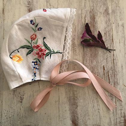 Floral embroidered bonnet