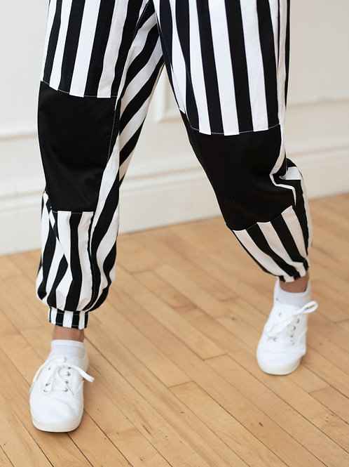 Black and White Stripe Pants with Knee Patches