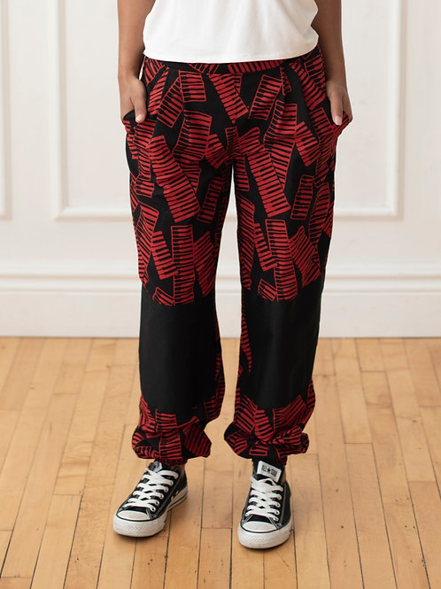 Relaxed Key Board Pants with Knee Patches