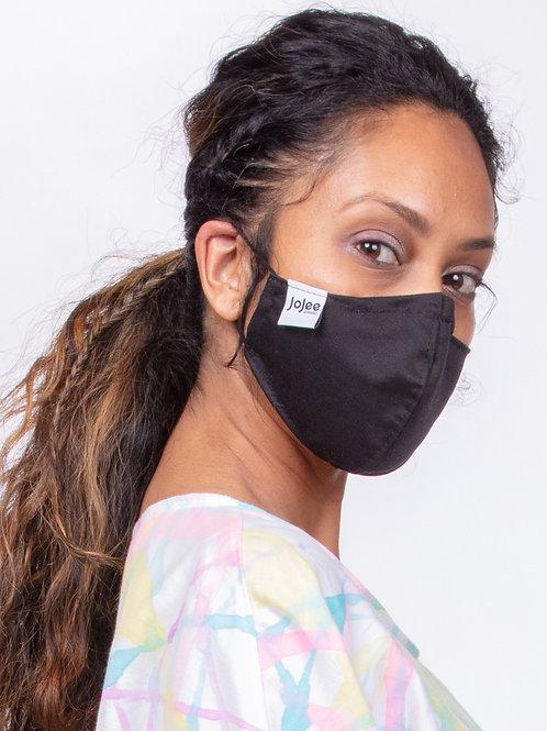 Plain Jane Black Cotton Face Mask, Metal Nose Bridge and Adjustable Ear Straps