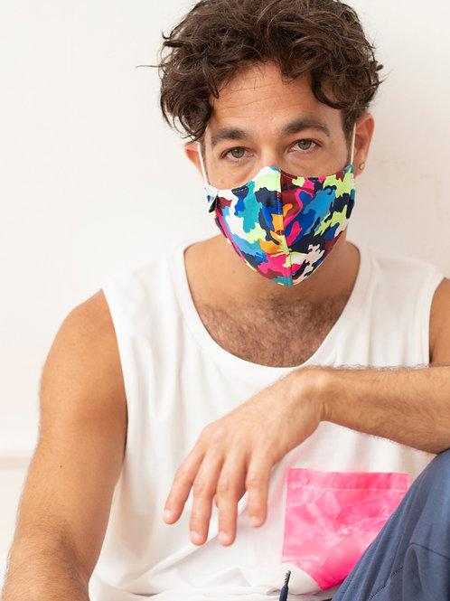 Colourful Camo Cotton & Spandex Face Mask with Metal Nose Bridge