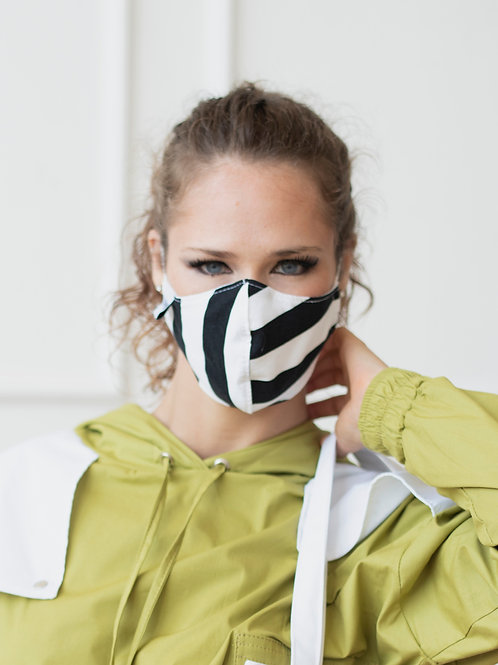 B & W Cotton Face Mask with Metal Nose Bridge and Adjustable Ear Straps
