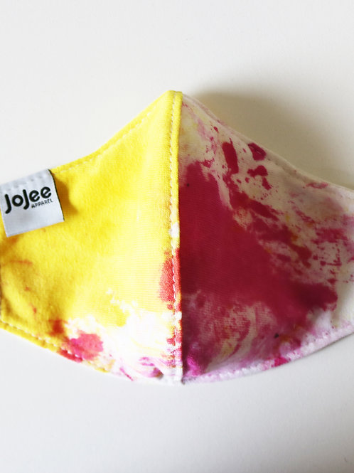 Hand Dyed Pink and Yellow Cotton Facemask