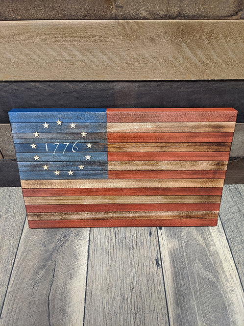 """Wood American Flag """"1776"""" 